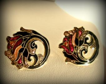 Art Nouveau Style Enamel Earrings