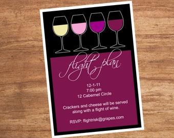 Wine Flight Plan Custom Party Invitation