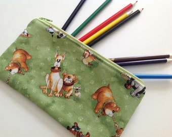 Ready to Ship Pencil Case, Zippered Pouch, Party Favor, Pencil Pouch, Back to School, Kids Pencil Pouch, Dogs