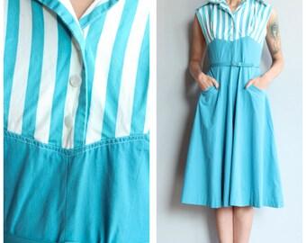 1950s Dress // Helen Whiting Striped Day Dress // vintage 50s dress