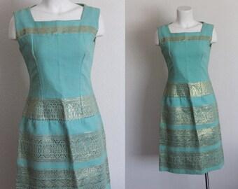 Vintage 1960s Embroidered Wiggle Dress / Metallic Gold Embroidered 1960s Dress / Aqua and Gold Vintage Dress / Vintage Wiggle Dress / Small