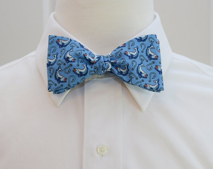 Men's Bow Tie, blue bass fish and hooks design, fisherman's bow tie, groom bow tie, groomsmen gift, angler bow tie, anglers gift, fish tie