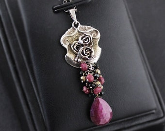Ruby rose, sterling silver, ruby silver pendant, necklace rose motive, ruby red, natural ruby gemstone, metalwork, flower pendant, 925