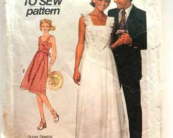 70s Simplicity 7861 SunDress with or Without Ruffle How to Sew pattern - Size Jr 11 12x Bust 30 32