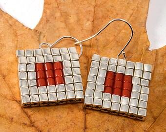 Miyuki Seed Beads with Genuine Coral Earrings, Peyote Pattern Silver Square Earrings, Silver Cube Beads Earrings, Art Deco Woven Earrings