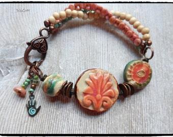 Boho Bracelet Multi Strand Bracelet Rustic Artisan Style Unique Bracelet