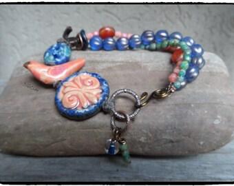Boho Flower Handmade Artisan Style Pottery  Bird Bracelet Stacked Bracelet Blue Jean Blue