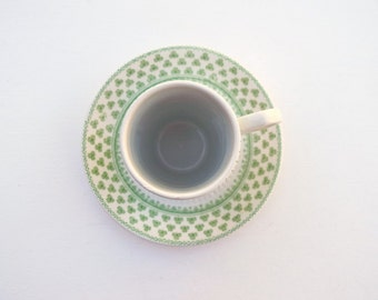 Tall espresso cup and saucer Micratex Ironstone shamrock W Adams & Sons England Irish coffee tea vintage teacups