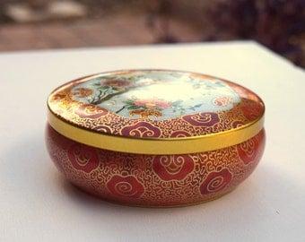 Vintage tin box storage container candy jar Daher England Christmas treats jar needlework organizer