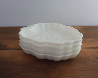 Milk Glass Dish Set Grape Design