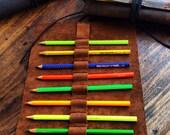 8th pencil roll, handmade leather roll, leather wrap case, leather pencil pouch, handmade pen sleeves, artist rolls by Aixa Sobin, maker