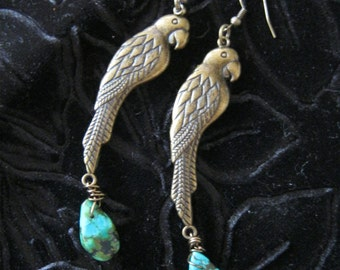 Beautiful Antiqued Brass Filigree Parrot Earrings with Blue Green with Brown-Veined Turquoise Teardrop Beads