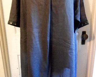 Gray Whisper Linen Silk Lagenlook Embroidered Tunic