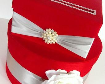 Wedding Card Box Red and Silver, Cardbox, Custom Made Money Holder