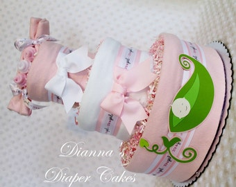 Peas in a Pod Baby Diaper Cake Girl Single Twins Triplets Light or Dark Skin Pink Shower Gift or Centerpiece