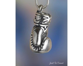 Sterling Silver Boxing Glove Charm Boxer Gloves Fighter 3D Solid .925