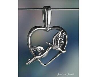 Lovebirds CHARM or PENDANT Sterling Silver Birds Heart Love Solid .925