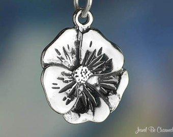 Sterling Silver Flower Charm Pretty Pansy Violet or Primrose Solid 925