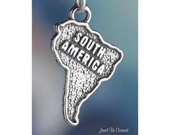 Sterling Silver South America Charm Continent Travel Solid .925