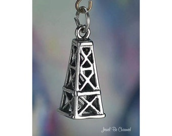 Sterling Silver Oil Derrick Charm for Oil Wells Gas Rigs 3D Solid .925