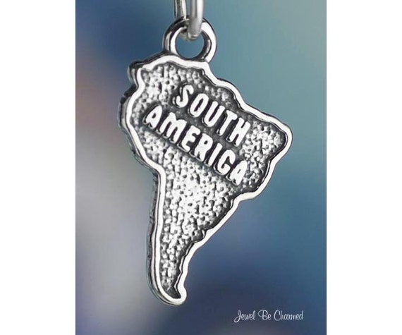 South America Charm Sterling Silver Continent Travel Solid .925