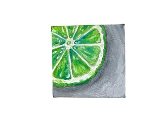 Lime Painting - Original oil painting, lime art, lime decor, kitchen painting, kitchen art, kitchen decor