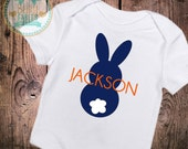 Personalized Baby Boy clothes Personalized Easter Bodysuit baby shirt baby boy 1st Easter First Easter Personalized Shirt Bunny Blue bunny
