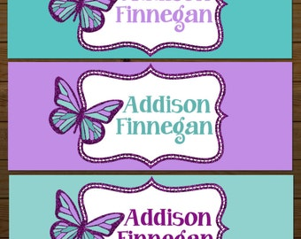 Waterproof Labels, Waterproof Stickers, Name Labels, Dishwasher Safe Daycare Labels, School Labels, Girl Labels, Butterfly School Labels