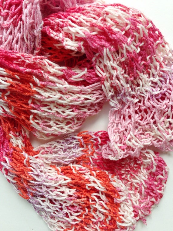 Summer Knit Scarf, Cotton and Bamboo Scarf, Pink Orange and Rose Scarf, Summer Scarf, Multicolor Scarf