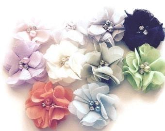"2""  Chiffon Flowers with Pearls & Rhinestones - Pearl Flowers - Rhinestone Flowers - Wholesale Flowers - Headband Flowers"