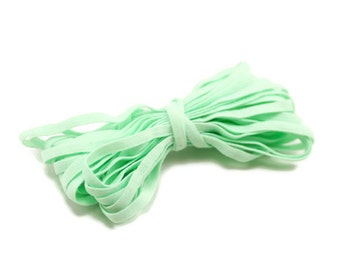 Pastel Green Skinny Elastic - 4mm Skinny Elastic-  Headbands Elastic -  5 yards - Wholesale Elastic - Headband Supplies