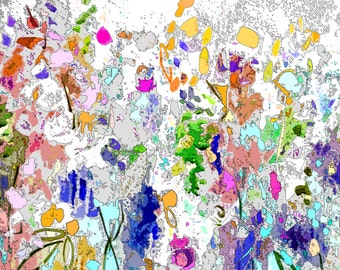 Abstract Floral Print, Floral Giclee Print, Flower Meadow Print, Meadow Art Print, Expressive Floral Print, pink, blue, green, yellow