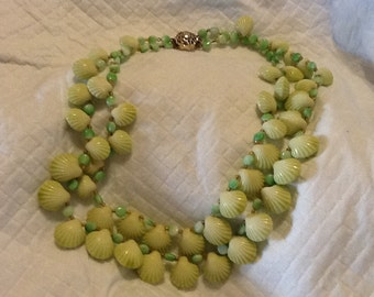 Vintage Western Germany Necklace Double Strand Green Shells Green Glass Beads