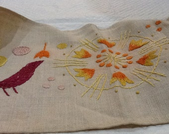 Vintage Crewel Embroidery Linen Folk Art Textile or Table Runner Birds Sun Flowers Purple Yellow Orange Pink