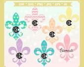 svg fleur de lis cutting file, fleur de lis monogram frame clip art, vector fleur de lis clip art, Svg,Dxf,Eps,AI