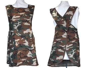 Camo Apron, Crossback Apron, Women's Apron, Cross Back Apron, No Tie Apron - Camouflage Cotton Twill - Size L  -  Ready to Mail
