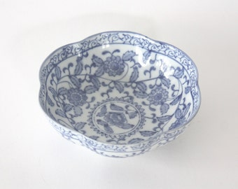 Vintage Blue and White Porcelain Bowl