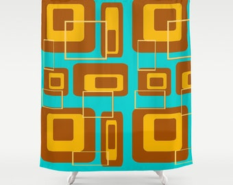 Mid Century Modern Shower Curtain, Modern Shower Curtain, Retro Shower Curtain,  Geometric Shower Curtain, , Retro Shower Curtain, Mid Mod