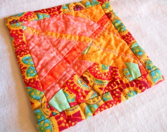 Summer Fun colorful bright scrap quilt coaster hot pad