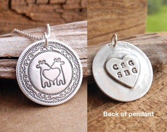 Personalized Twin Giraffe Necklace, Heart, Oval Monogram, New Mom Necklace, Mom of Twins, Fine Silver, Sterling Silver Chain, Made To Order