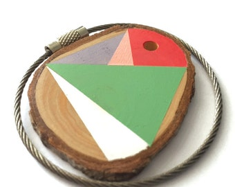 Pine wood keychain with stainless steel  wire option for cutom initial keyring , tones of pink, green white,grey geometric triangle shapes