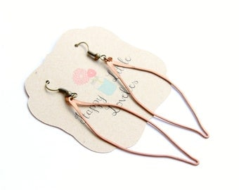 Hammered Copper Feather Earrings