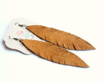 Large Brown Feather Earrings