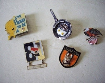 Five Various State Lion's Club Trading Pins, Includes one Leader Dog Pin and Unusual Frying Pan Pin.  Vintage.