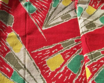 Panel of Vintage French 1950s Abstract Rocket Firework Fabric Material