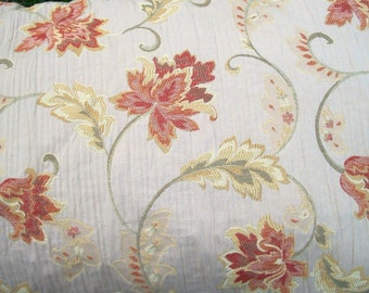 Vintage French Fabric Piece Woven Silk Damask Cream Gold and Marsala Rose tulips