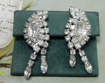 Signed KRAMER Clear Rhinestone Dangling Earrings