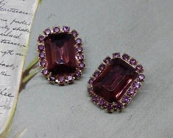 Juliana Amethyst Large Stone Rhinestone Clip On Earrings