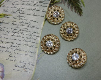 Set of 4 Matching Vintage Gold Metal & Rhinestone Buttons