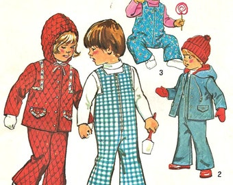 Simplicity Pattern  6636  Toddler's Bell Bottoms Overalls, Hooded Jacket Size 1/2 Vintage 1970's Clearance Sale